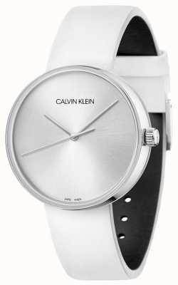 Calvin Klein Weißes Lederarmband für Damen | silbernes Zifferblatt KBL231L6