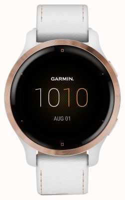 Garmin Venu 2s-Touchscreen | 41mm rosévergoldete Lünette | weißes Gehäuse | Lederarmband (plus weißes Silikonarmband) 010-02429-23