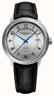 Raymond Weil | Maestro | automatisch | silbernes arabisches Zifferblatt | schwarzes Lederband 2237-STC-05658