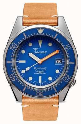 Squale Blau gestrahlt | automatisch | blaues Zifferblatt | braunes Lederband 1521BLUEBL.PC-CINVINTAGE