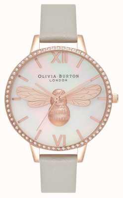 Olivia Burton Lucky Bee Demi Zifferblatt grau und roségold funkeln OB16BB17
