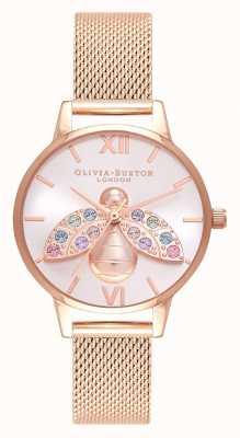 Olivia Burton Regenbogenbiene Silber Sunray Roségold Mesh OB16RB28