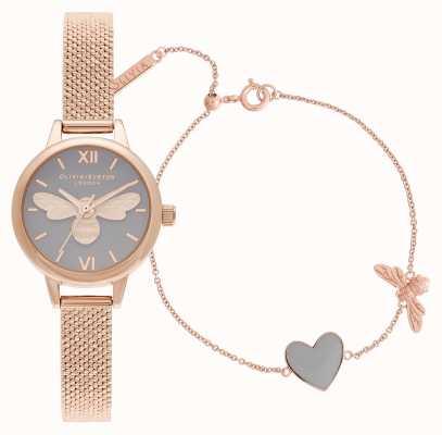 Olivia Burton Sie haben mein Herz Roségold Uhr & Armband Geschenkset OBGSET148