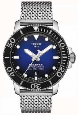 Tissot Seastar 1000   powermatic 80   blaues Zifferblatt   rostfreies Netz T1204071104102