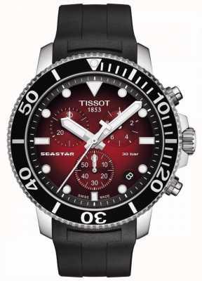 Tissot Seastar 1000 | Chronograph | rotes Zifferblatt | schwarzes Silikonband T1204171742100