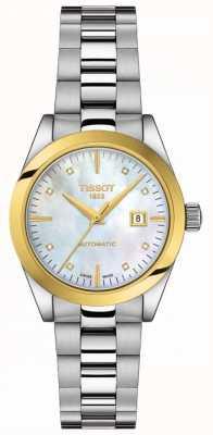 Tissot T-meine Dame | 18 Karat Gold | auto | Moppzifferblatt | Edelstahlarmband T9300074111600
