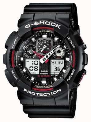 Casio G-Schock Chronograph Alarm schwarz rot GA-100-1A4ER