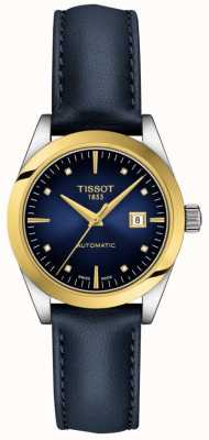 Tissot T-meine Dame | 18 Karat Gold | auto | blaues Zifferblatt | blaues Lederband T9300074604600