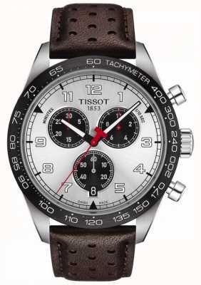 Tissot Prs 516 | Chronograph | silbernes Zifferblatt | braunes Lederband T1316171603200