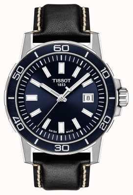 Tissot Supersport | blaues Zifferblatt | schwarzes Lederband T1256101604100