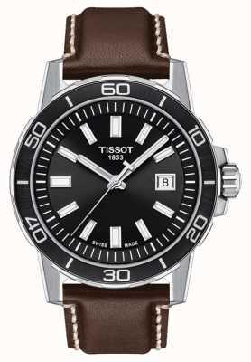Tissot Supersport | schwarzes Zifferblatt | braunes Lederband T1256101605100