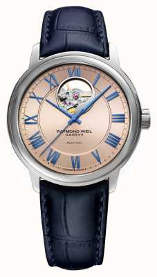 Raymond Weil Maestro | automatisch | rosa Kupferzifferblatt | blaues Lederband 2227-STC-00808