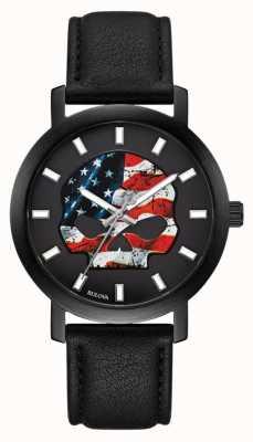 Harley Davidson Amerikanische Flagge der Männer willie g | schwarzes Lederband 78A122