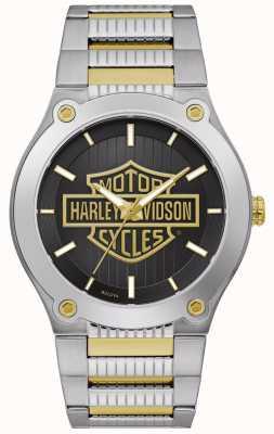 Harley Davidson Zweifarbiges Stahlarmband für Herren | schwarzes Zifferblatt 78A126