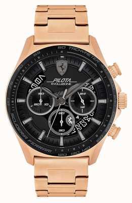 Scuderia Ferrari Pilota evo für Herren | rosévergoldetes Stahlarmband | schwarzes Zifferblatt 0830825