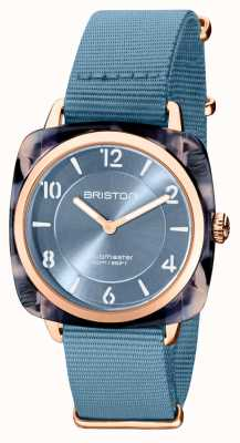 Briston Clubman chic | Roségold 36mm blaues Zifferblatt | blauer NATO-Gurt 21536.PRA.UB.25.NIB
