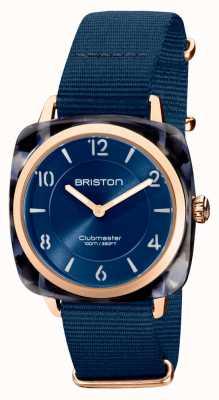 Briston Clubman chic | Roségold 36mm dunkelblaues Zifferblatt | Marineblaues NATO-Armband 21536.PRA.UB.33.NMB