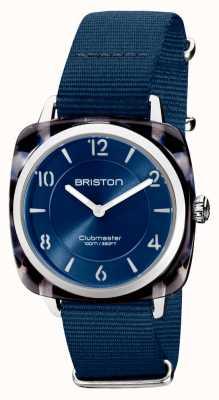 Briston Clubman chic | silbernes 36mm dunkelblaues Zifferblatt | Marineblaues NATO-Armband 21536.SA.UB.33.NMB