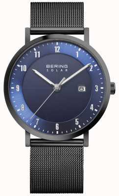 Bering Solar Herrenuhr aus schwarzem Mesh-Armband mit Datumsanzeige 15439-327