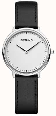 Bering Klassische schwarze Lederarmbanduhr für Damen 15729-404