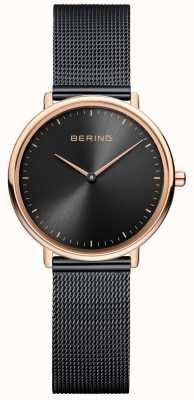 Bering Klassische schwarze Mesh-Damenuhr 15729-166
