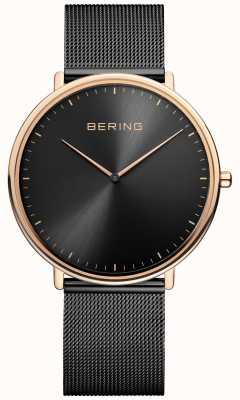 Bering Klassische Unisex-Uhr in Schwarz und Roségold 15739-166