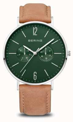 Bering Klassiker | Männer | poliertes Silber | braunes Lederband 14240-608