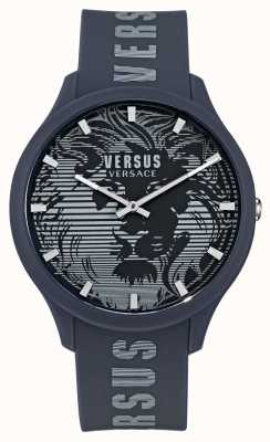 Versus Versace Domus blaue Silikonarmbanduhr für Herren VSP1O0221