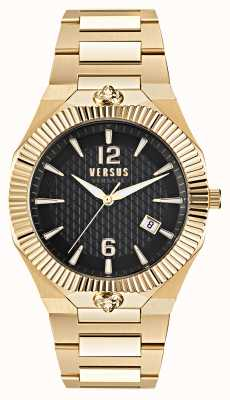 Versus Versace Echo Park Gold Edelstahl Uhr mit schwarzem Zifferblatt VSP1P0721