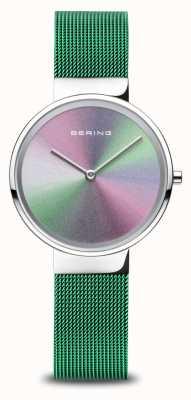 Bering Jubiläum | Frauen | poliertes Silber | grünes Netzarmband 10X31-ANNIVERSARY1
