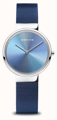 Bering Jubiläum   Frauen   poliertes Silber   blaues Netzarmband 10X31-ANNIVERSARY2