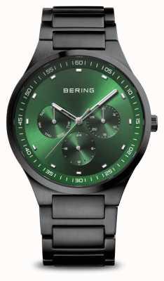 Bering Klassiker | Männer | schwarz gebürstet | grünes Zifferblatt 11740-728