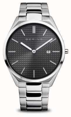 Bering Ultra schlank   Männer   poliertes / gebürstetes Silber   schwarzes Zifferblatt 17240-702