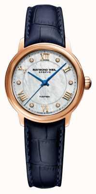 Raymond Weil Maestro der Frauen | blaues Lederarmband | Perlmutt Zifferblatt 2131-P53-00966