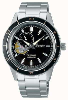 Seiko Uhr im Presage-Stil mit schwarzem Zifferblatt aus den 60er Jahren SSA425J1