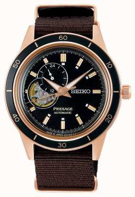 Seiko Presage braunes Nylonarmband im Stil der 60er Jahre SSA426J1