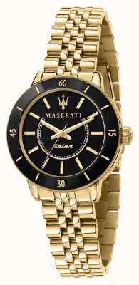 Maserati Damen-Nachfolge-Solaruhr in Schwarz und Gold R8853145503