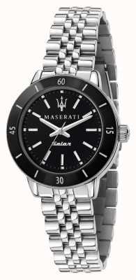 Maserati Damen-Successo-Solaruhr mit schwarzem Zifferblatt R8853145506