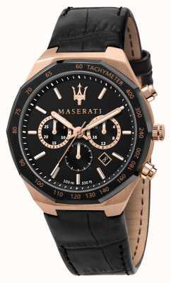 Maserati Stile Chronograph Herren schwarzes Lederarmband R8871642001