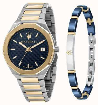Maserati Stile 3h Herren Geschenkset Uhr und Armband R8853142008