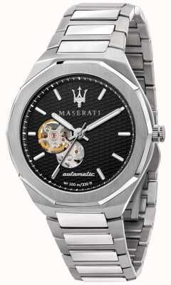 Maserati Herren Stil automatisch | Edelstahlarmband | schwarzes Zifferblatt R8823142002