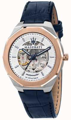 Maserati Herren Stil automatisch | blaues Lederband | silbernes Skelettzifferblatt R8821142001