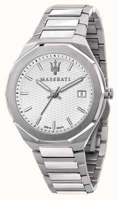Maserati Herrenuhr im Stil 3h mit weißem Zifferblatt R8853142005