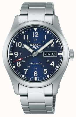 Seiko 5 Sportplatz blaues Zifferblatt Edelstahl Armband SRPG29K1