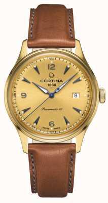 Certina Ds Powermatic 80 Gold Zifferblatt Lederarmband C0384073636700