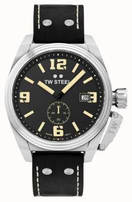 TW Steel Herren Kantine schwarzes Lederarmband TW1001