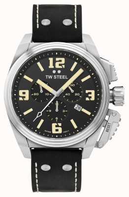 TW Steel Canteen Chronograph schwarzes Lederarmband TW1011