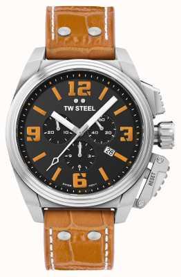 TW Steel Canteen orangefarbene Lederarmbanduhr TW1012