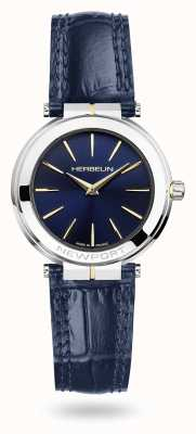 Michel Herbelin Newport Damenuhr aus blauem Lederarmband mit blauem Zifferblatt 16922/T15BL