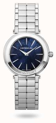 Michel Herbelin Newport schlankes blaues Perlmuttzifferblatt für Damen 16922/B60